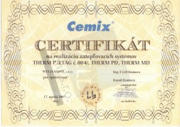 Certificate to carry out thermal insulation systems - CEMIX